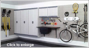 Garage Storage Wall and Cabinets - click for larger photo